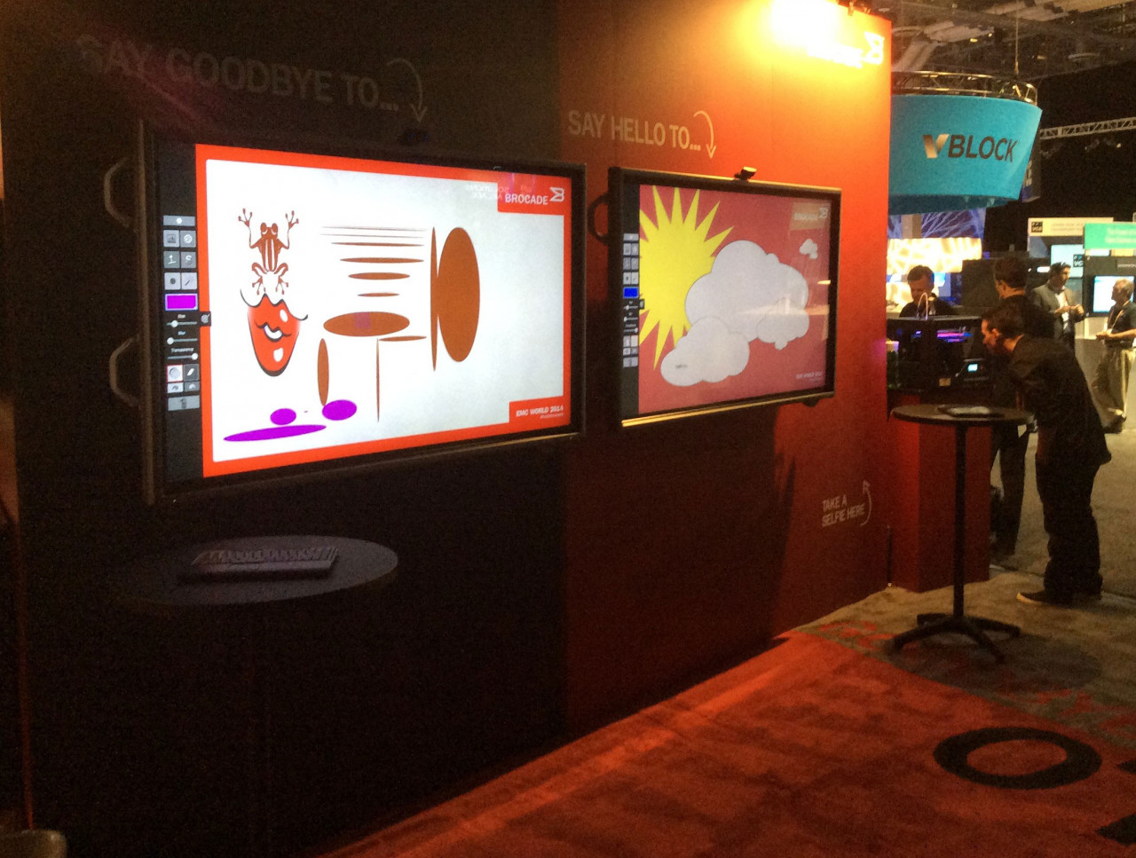 Air Graffiti Touch, Interactive Digital Surface: Set up as a unique sign-in board at a Brocade event