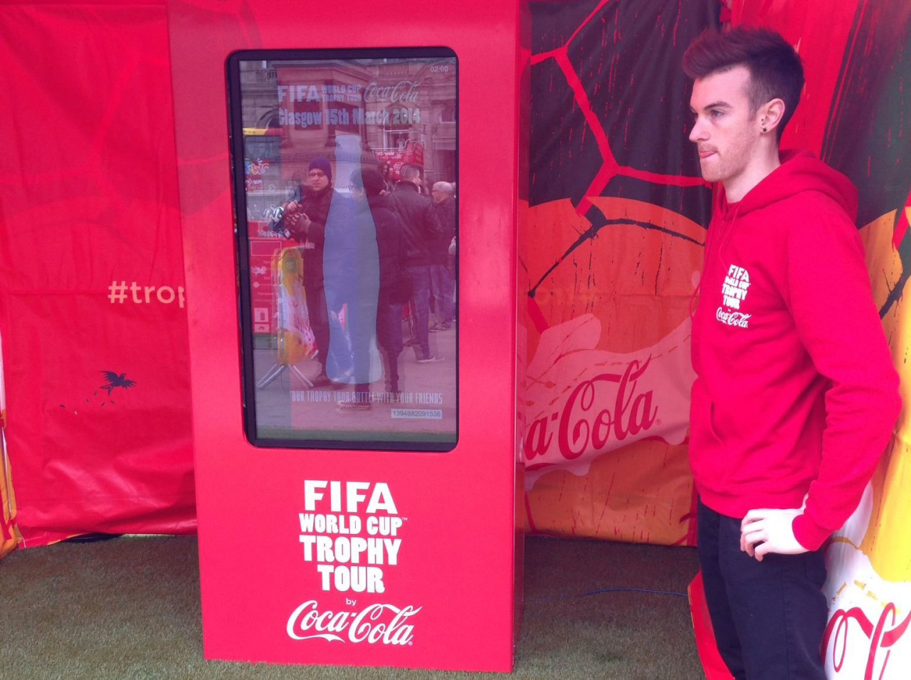 Air Graffiti Touch, Interactive Digital Surface: Vertical pod setup at a Coca Cola event