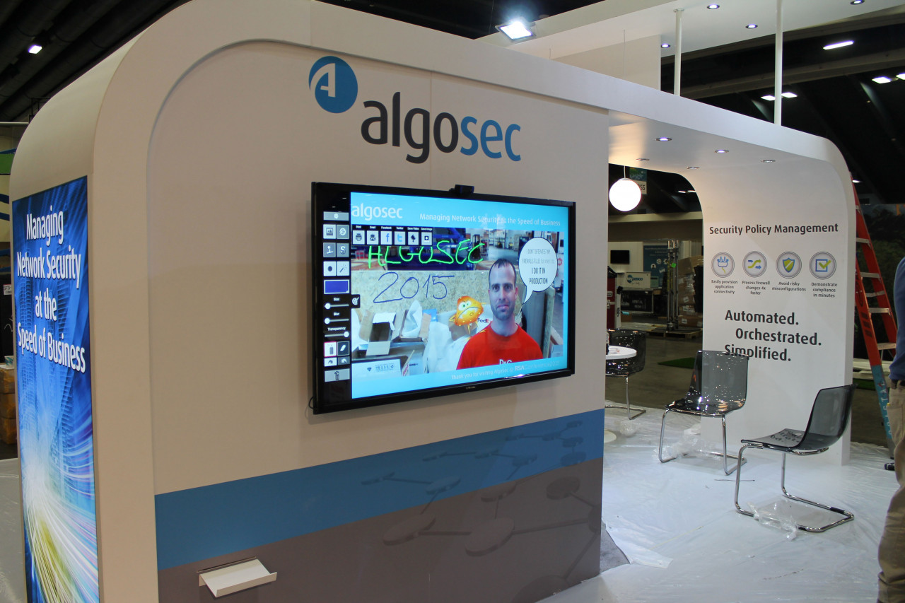 Air Graffiti Touch, Interactive Digital Surface: Set up at a algosec exhibition stand