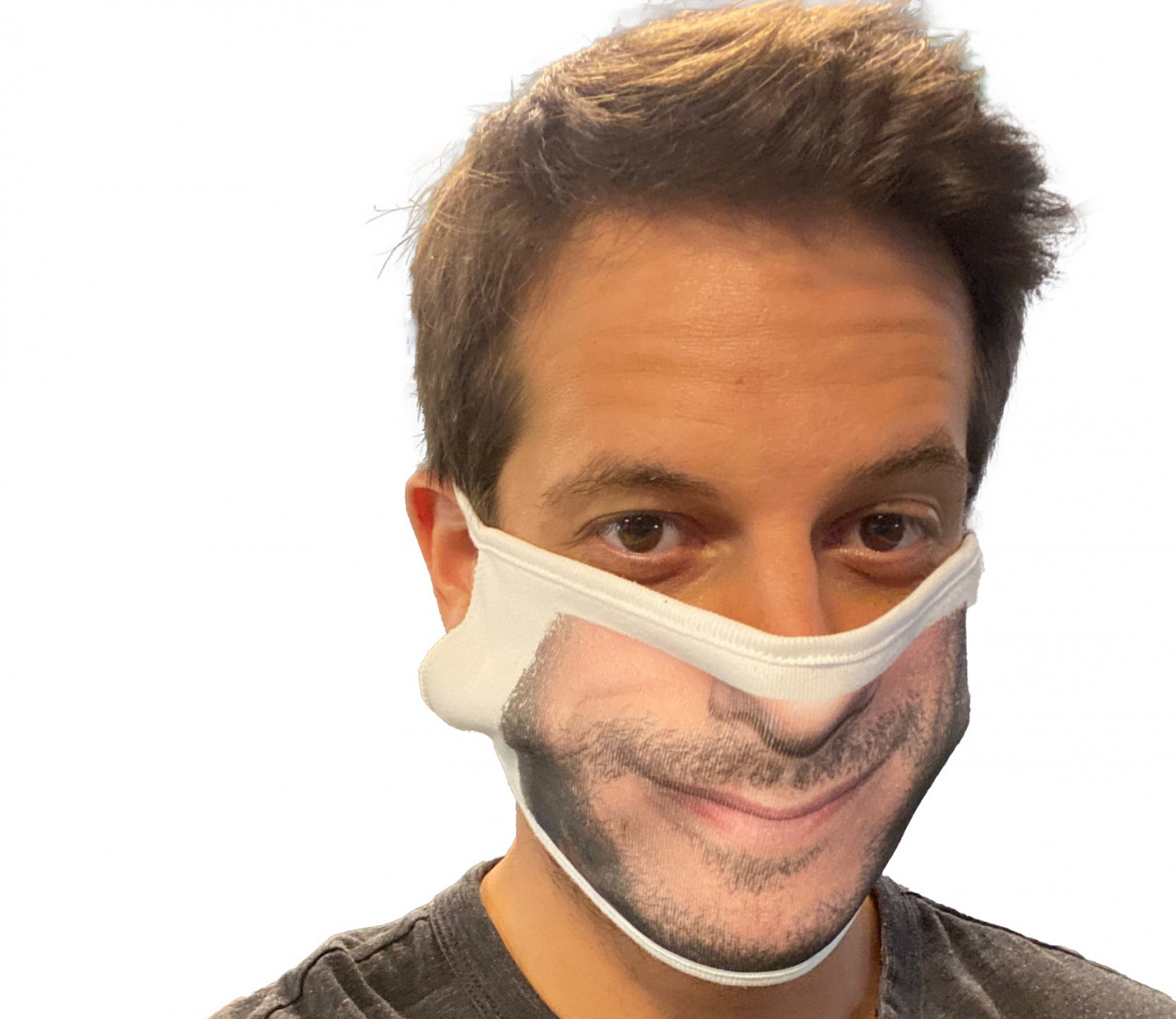 Final product demonstration: A man wearing a mask with his face printed on it as created using a Foto Master Photo Booth product and printing a face mask feature