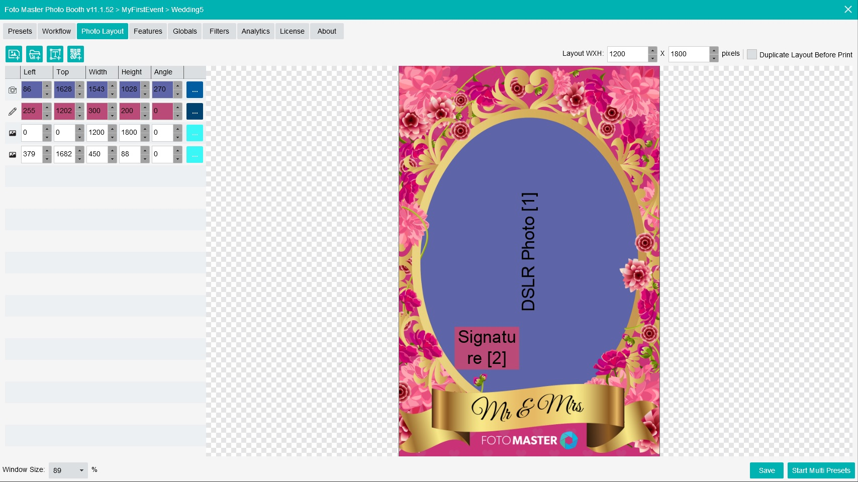 A screenshot from the Foto Master Photo Booth software demonstrating V11 Layout Screen