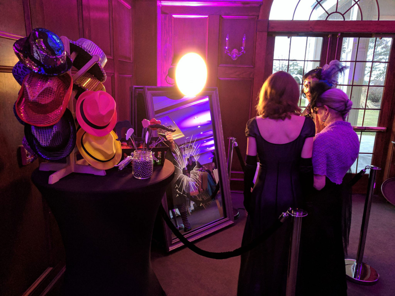 Mirror Me Booth, a new magical photo booth: Setup at a Masquerade Ball