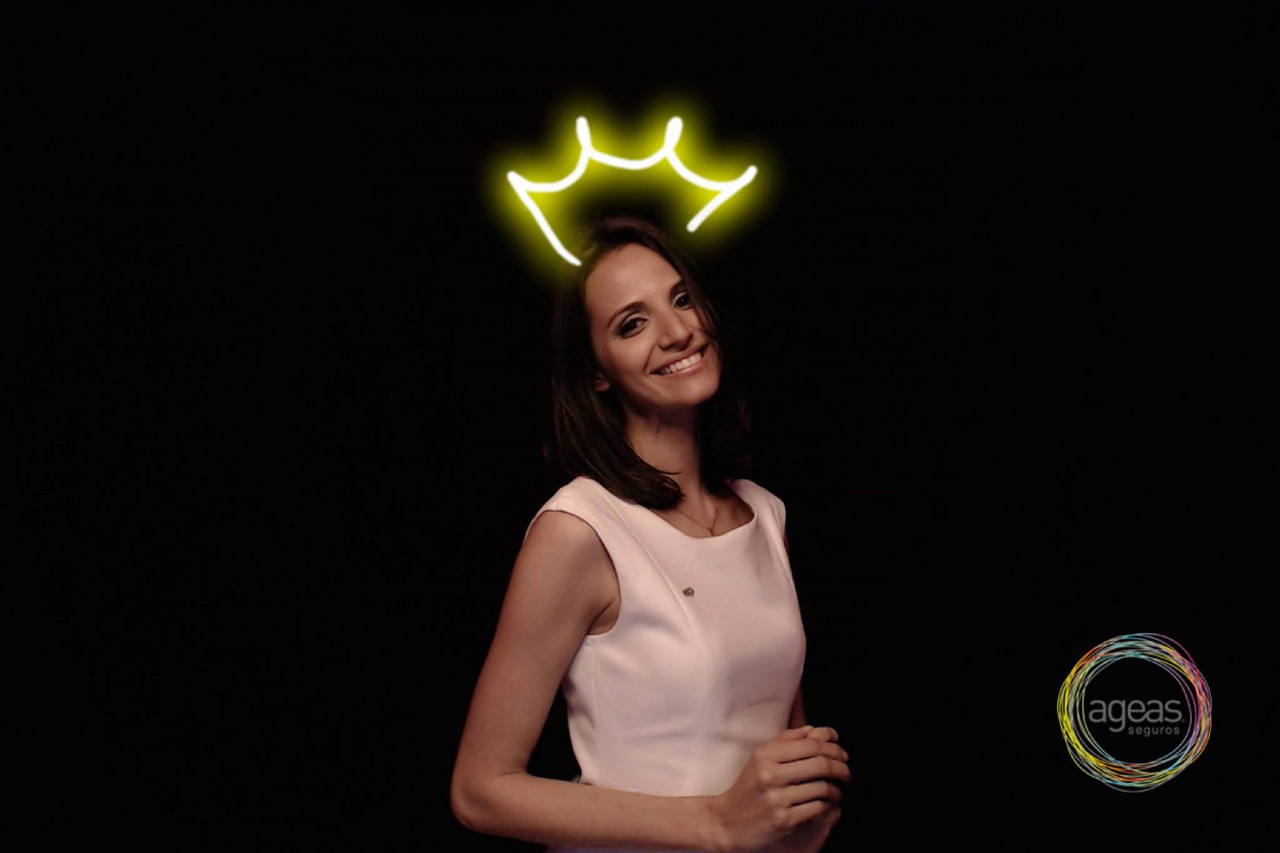 Neon Video Booth: A Neon Crown Favor from an Event